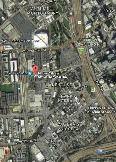 Diridon 1:4 mile Google Map