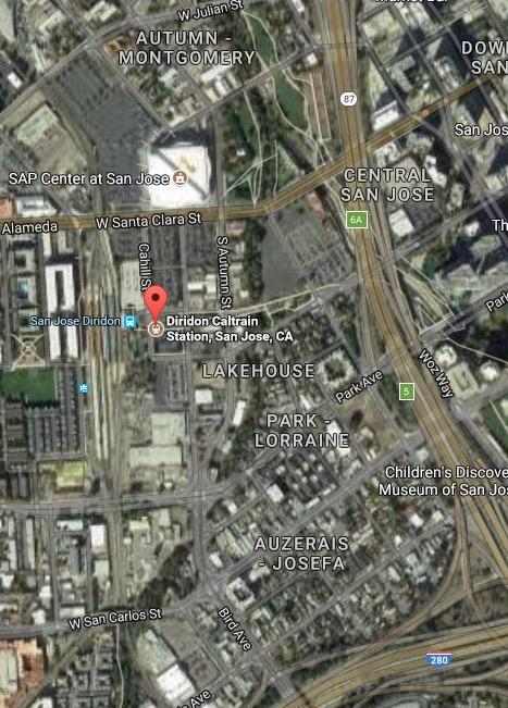 Diridon 1:4 mile Google Map