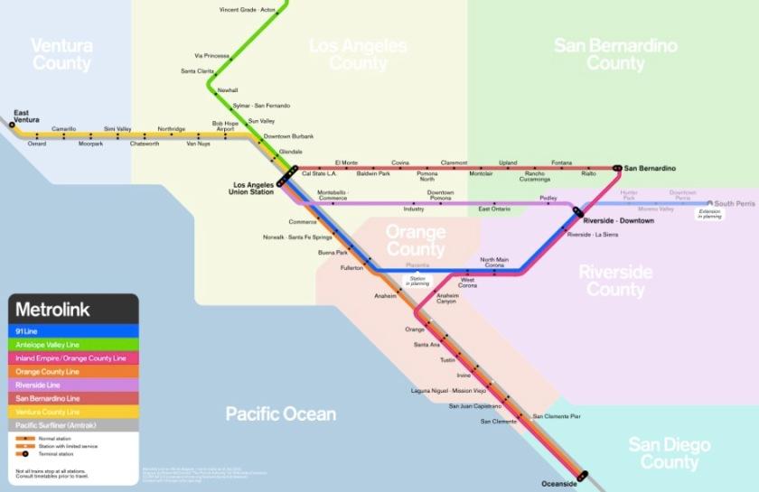 LA Metrolink map