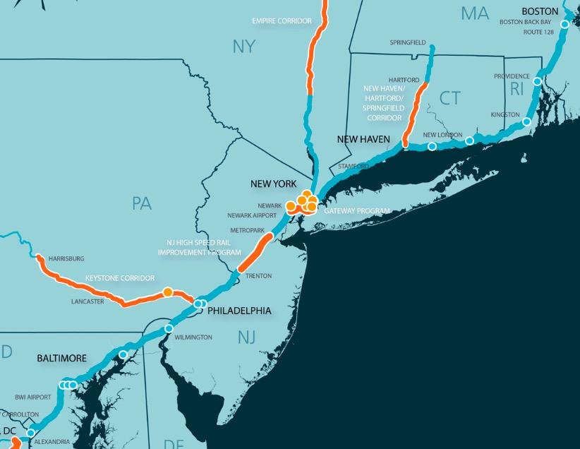 NEC map, Amtrak