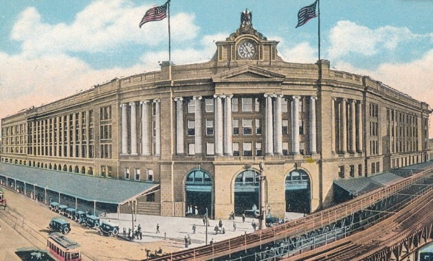 WikiCommons, postcard of South Station